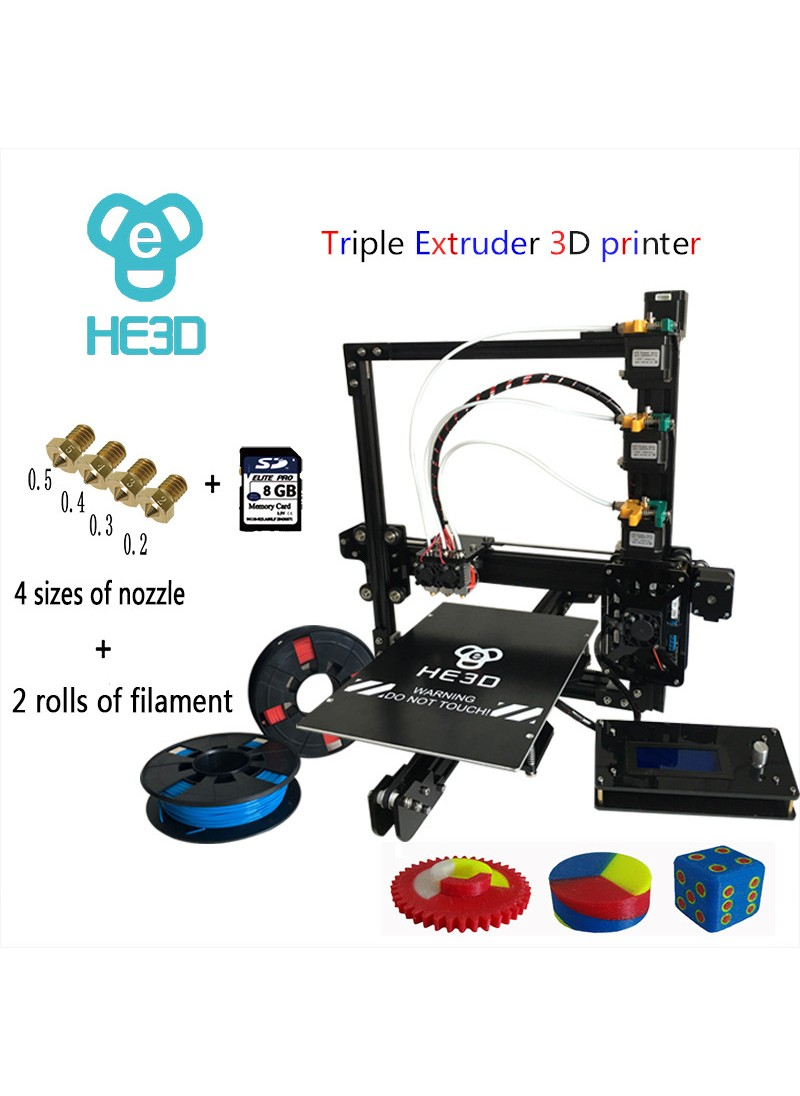 EI3-Tricolor DIY 3D Printer kit  Triple Extruder-free shipping for some countries