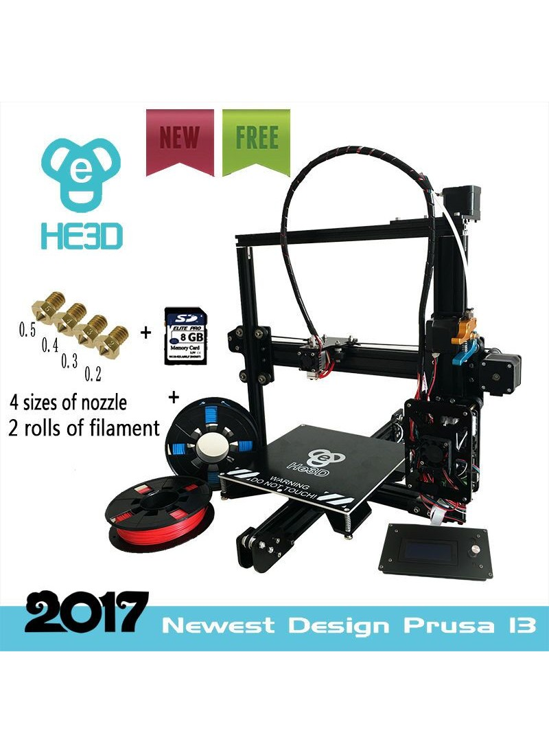 Auto level 2017 New updated He3D EI3 Aluminium Extrusion DIY 3D Printer kit_flex aluminum extrduder 2 Rolls Filament 8GB SD card as gift,provide 4 sizes of nozzle-free shipping for some countries