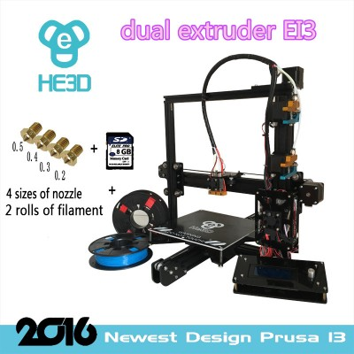 HE3D-EI3-dual  extruder  3Dprinter kit  prusa i3- free shipping for some countries