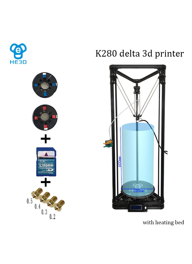 HE3D K280 delta 3D printer_ large size  printing size 280 in diameter 600 in height_with auto level and heat bed