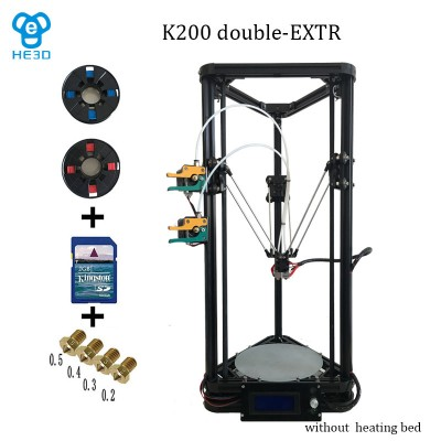 he3d K200 dual extruder high precision delta 3d printer kit- support multi material filament-free shipping for some countries