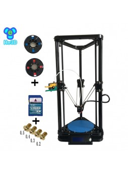 he3d K200 high precision single extruder delta 3d printer kit- support multi material filament-free shiping for some countries