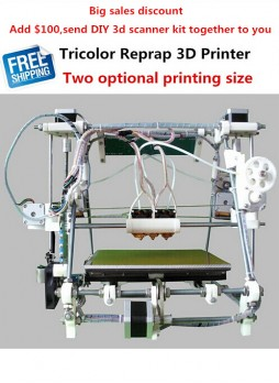 Free shipping He3D- Triple Extruder Tricolor Reprap 3D Printer